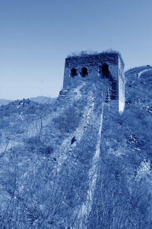 Photo pour Architecture de la grande muraille de Chine, heure d'hiver - image libre de droit