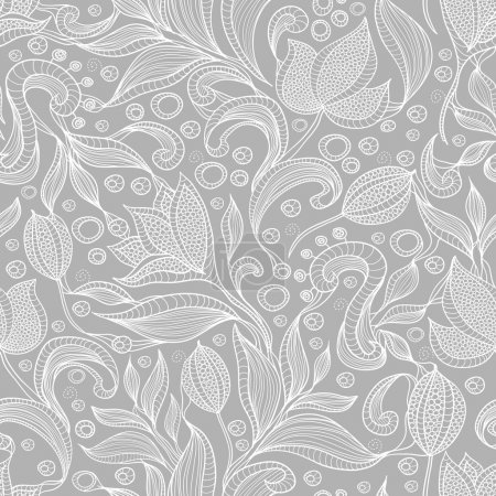 Illustration for Abstract floral pattern. Seamless pattern with flowers and butterfly. Floral background. - Royalty Free Image