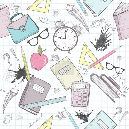 Cute school abstract pattern. Seamless pattern with alarm clock