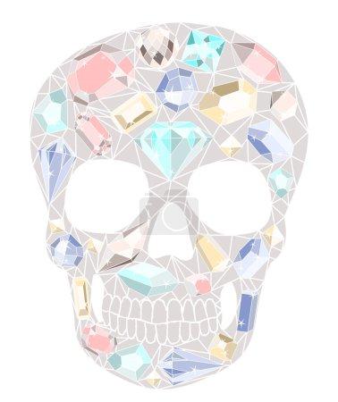 Illustration for Skull with gemstones pattern. - Royalty Free Image