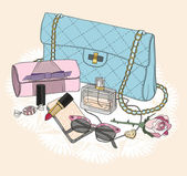 Fashion essentials Background with bag sunglasses shoes jewelery perfume makeup and flowers
