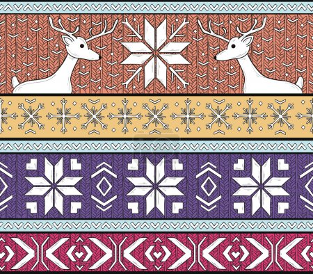 Hand drawn seamless knitted background in fair Isle style