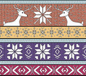 Hand drawn seamless knitted background in fair Isle style with deers and snowflakes