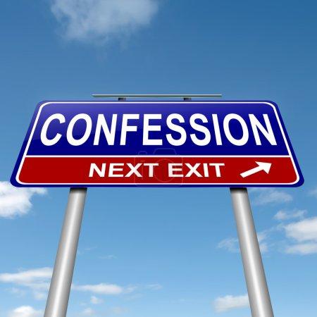 Photo pour Illustration représentant un roadsign avec un concept de confession. fond de ciel. - image libre de droit
