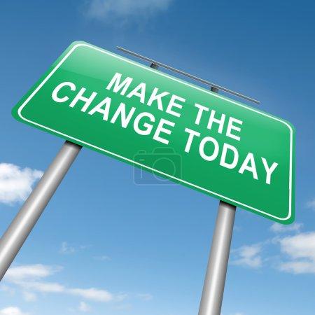 Photo pour Illustration représentant un roadsign avec une notion de changement. fond de ciel bleu. - image libre de droit
