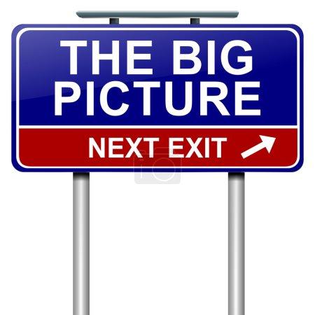 """Photo pour Illustration représentant un roadsign avec concept """"the big picture"""". fond blanc. - image libre de droit"""