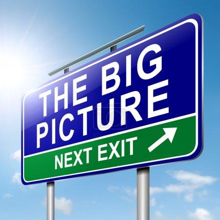 """Photo pour Illustration représentant un roadsign avec concept """"the big picture"""". fond de ciel. - image libre de droit"""