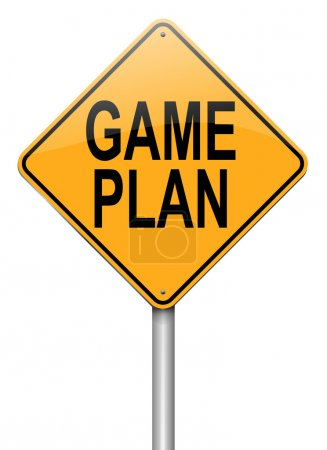 Photo for Illustration depicting a roadsign with a game plan concept. White background. - Royalty Free Image
