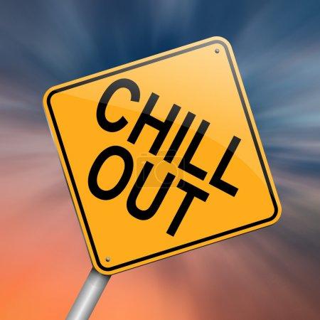 Photo pour Illustration représentant un roadsign avec un concept « chill out ». abstrait. - image libre de droit