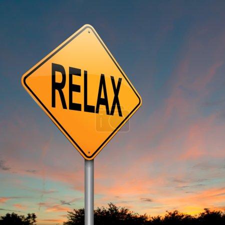 Photo pour Illustration représentant un roadsign avec un concept de relax. fond de ciel crépusculaire. - image libre de droit