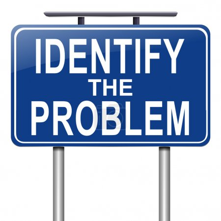 Photo for Illustration depicting a roadsign with an identify the problem concept. White background. - Royalty Free Image