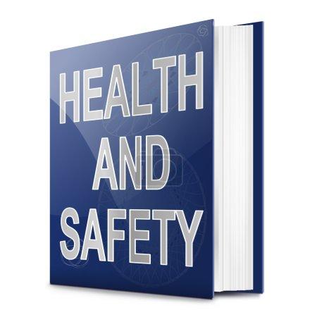 Photo pour Illustration représentant un manuel avec un titre de concept de santé et de sécurité. Fond blanc . - image libre de droit