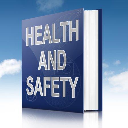 Photo pour Illustration représentant un manuel avec un titre de concept de santé et de sécurité. Fond du ciel . - image libre de droit