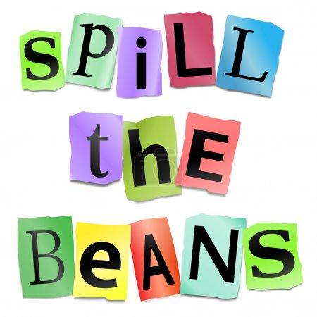 Photo pour Illustration représentant la découpe lettres imprimées disposées pour former que les mots renverser les haricots. - image libre de droit