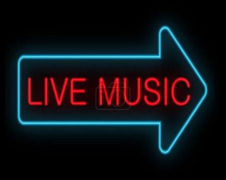 Photo pour Illustration représentant une signalisation de néon avec un concept de musique live. - image libre de droit