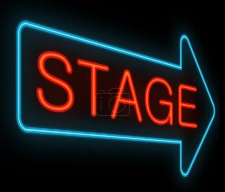 Photo pour Illustration représentant une signalisation au néon avec un concept de scène . - image libre de droit