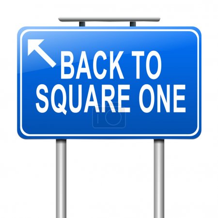 Photo for Illustration depicting a sign with a back to square one concept. - Royalty Free Image