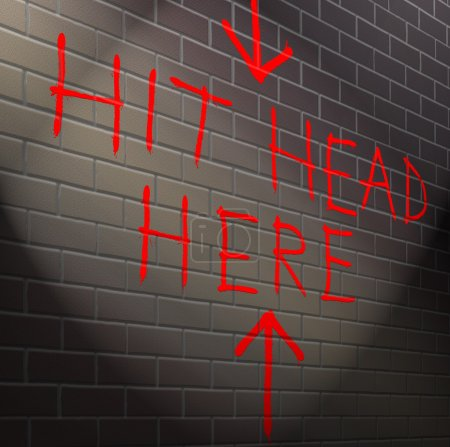 Illustration depicting graffiti on a brick wall wi...