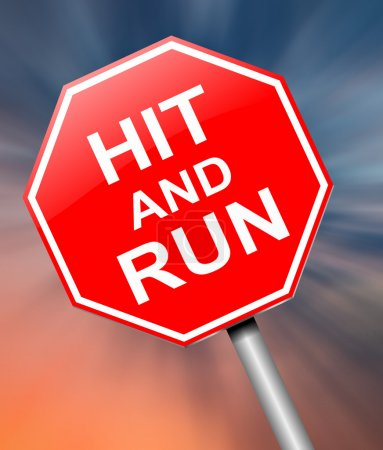 Photo for Illustration depicting a sign with a hit and run concept. - Royalty Free Image
