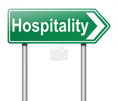 Photo pour Illustration représentant un signe avec un concept d'accueil. - image libre de droit