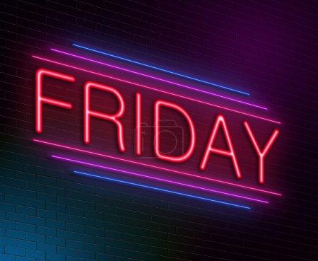 Photo pour Illustration représentant un néon illuminé avec un concept de vendredi . - image libre de droit