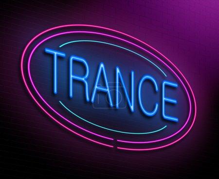 Photo pour Illustration représentant une enseigne au néon lumineux avec un concept de trance. - image libre de droit