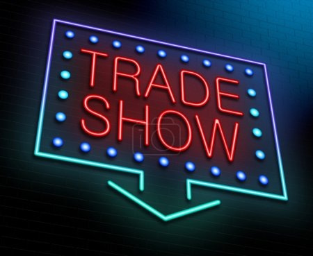 Photo for Illustration depicting an illuminated neon sign with a trade show concept. - Royalty Free Image