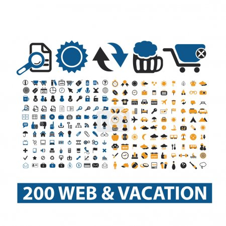 Illustration for 20 web & vacation icons set, vector - Royalty Free Image