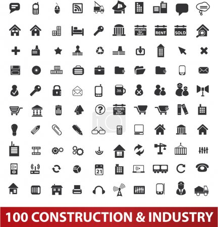 100 architecture, construction & industry icons set, vector