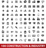 100 architecture construction & industry icons set vector