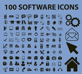 100 software icons signs vector illustrations