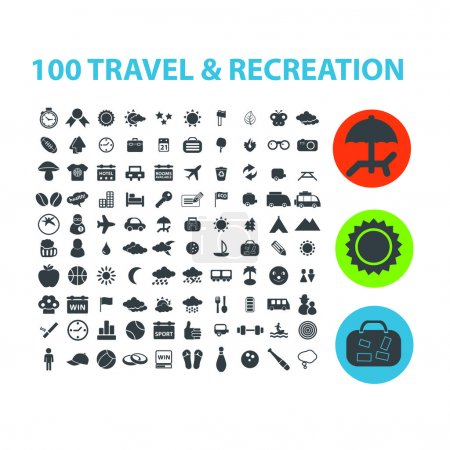 100 travel, recreation icons set, vector