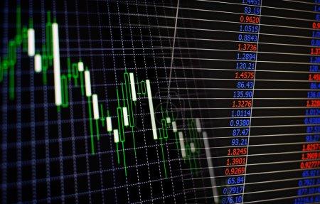 Photo pour Interface numérique électronique à une bourse ou à une bourse montrant les fluctuations des cours des actions et des actions sur les marchés et leurs performances - image libre de droit
