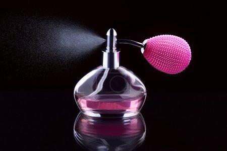 Photo pour Rose flacon de parfum, pulvérisation, isolée sur fond noir - image libre de droit