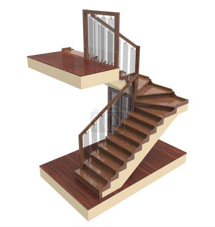 Photo pour Rendu 3D de l'escalier avec des marches en bois sur un fond blanc - image libre de droit