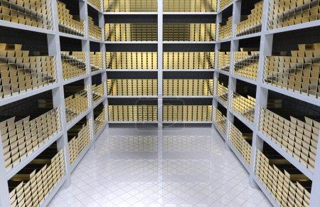Photo pour Banque voûte avec lingots d'or.3d rendu - image libre de droit