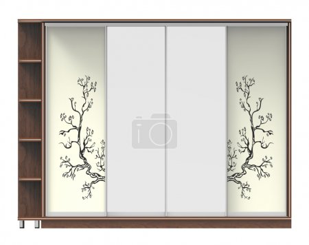 Photo for 3d render of wooden wardrobe with sliding doors - Royalty Free Image