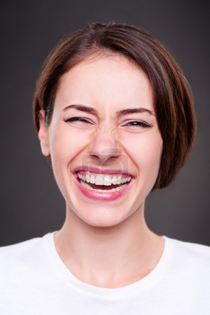 happy and laughing woman