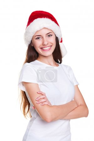 woman in white t-shirt and santa hat