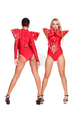 dancers in red stage costume