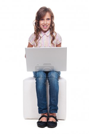 little smiley girl with laptop