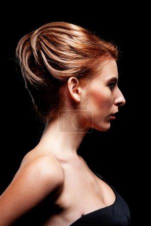 stylish woman with hairdo