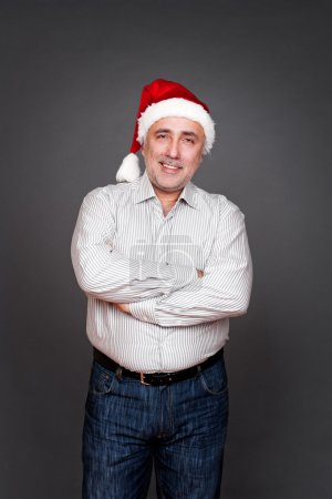 man in santa hat with folded hands