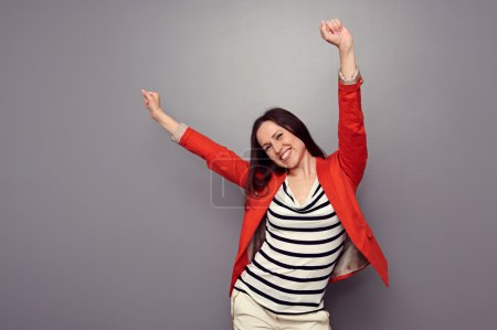 happy woman celebrating