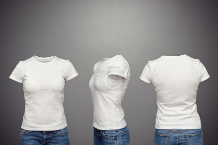 Photo for Front, back and side views of blank feminine t-shirt over dark background - Royalty Free Image