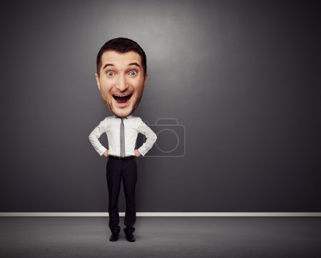excited businessman with big head
