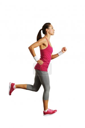 Photo for Full-length photo of running woman over white background - Royalty Free Image