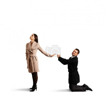 sad man apologizing to woman
