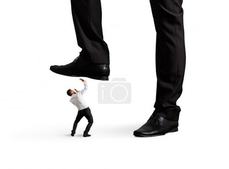 man under leg his boss