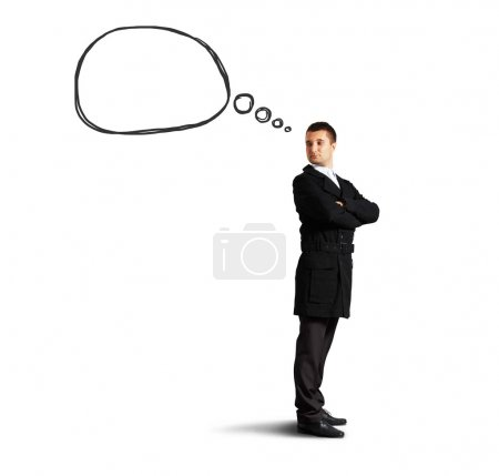 Photo for Handsome man with speech bubble looking back. isolated on white background - Royalty Free Image